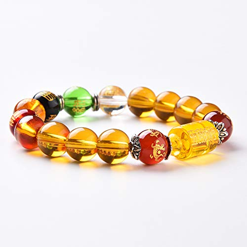 Wenmily Feng Shui Citrine Gem Stone Wealth Porsperity Bracelet with Dragon, White Tiger, Suzaku, Basalt Beads, Attract Wealth and Good Luck, Deluxe Gift Box Included