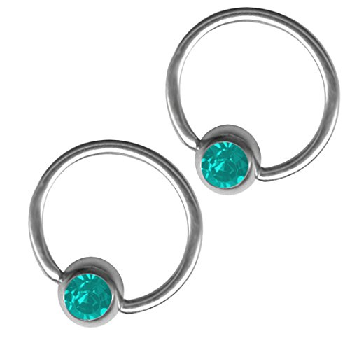 BodySparkle Body Jewelry 2 Turquoise Color Jeweled Hoop Earrings 20g-3/8-10mm Steel Captive Bead Ring