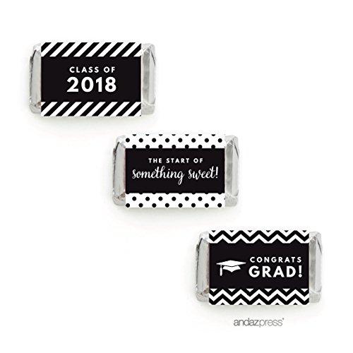 Andaz Press Chocolate Minis Labels Trio, Fits Hershey's Miniatures, Graduation 2019, Black, 36-Pack ()