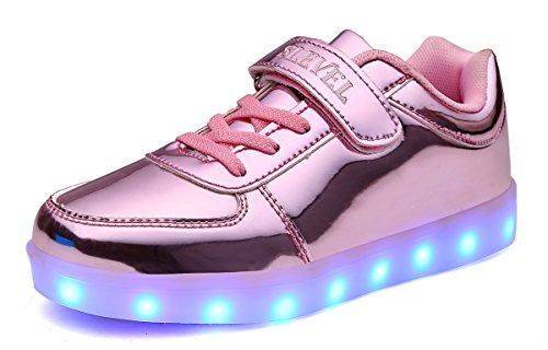 SLEVEL LED Light up Shoes Flashing Sneakers for Kids Boys Girls(S22LPink30)