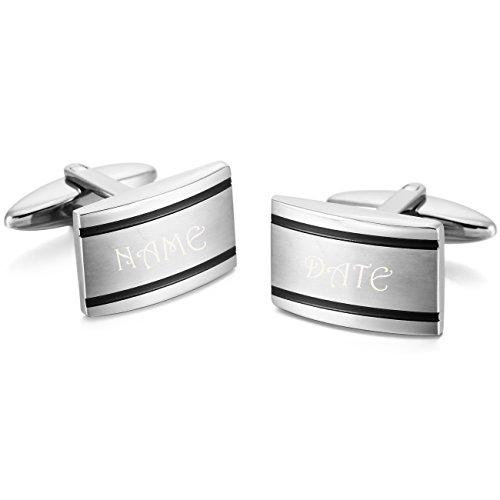 MeMeDIY Silver Tone Stainless Steel Cufflinks Rectangular Shirt Wedding - Customized Engraving - Rectangular Cufflinks Steel