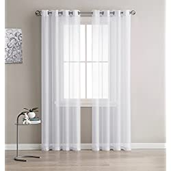 Sheer Curtains - 2 Pieces, Beautiful, Elegant, Natural Light Flow, High Quality Material, Durable - for Bedroom, Living Room, Kid's Room, Kitchen (54-Inch-by-84-Inch - each Panel, White