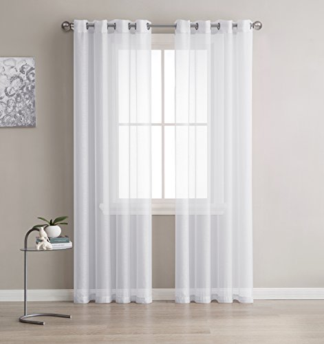 LinenZone - Grommet Semi-Sheer Curtains - 2 Pieces - Total Size 108 Inch Wide (54 Inch Each Panel) - 108