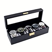 Compact Black Watch Case Storage Box With Glass Top Holds 5 Watches