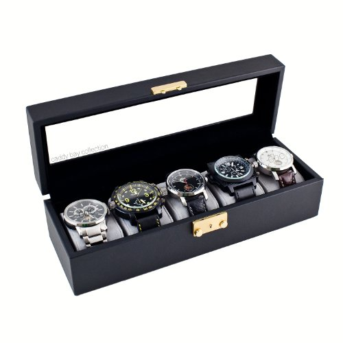 - Caddy Bay Collection Compact Black Watch Case Storage Box With Glass Top Holds 5 Watches