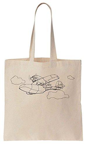 Plane Algodón Reutilizables Compras Simple Tote Line de Bag Artwork Bolsos de dvqCvO8w