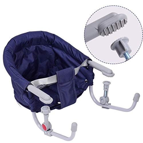 HONEY JOY Hook On Chair, Fast Table Chair, Portable & Foldable Hook-On Booster W/Carry Bag (Dark Blue)