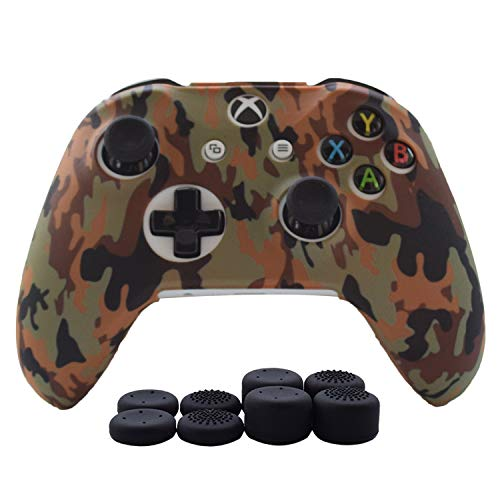 Hikfly Silicone Gel Controller Cover Skin Protector Kits for Xbox One/Xbox One X/Xbox One S Controller Video Games(1 x Controller Camouflage cover with 8 x Thumb Grip Caps)(Brown)
