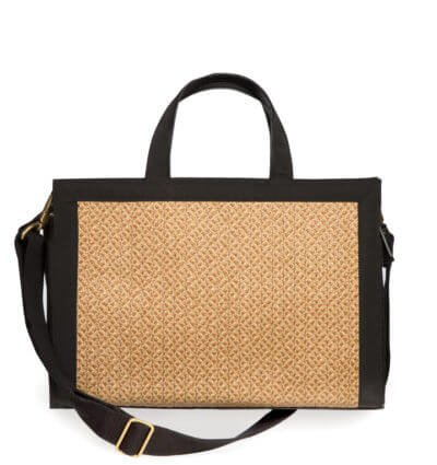 Eric Javits Stripe (Eric Javits Luxury Fashion Designer Women's Handbag - Bancroft Tote - Natural/Black)