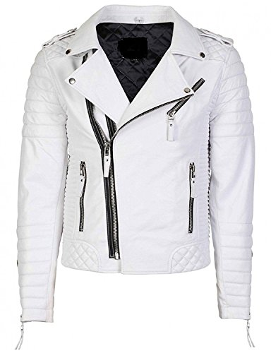Mens White Leather Motorcycle Jacket - 7