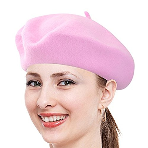 Parisian Costume Ideas (Classic French Beret, FuzzyGreen Pink Solid Color French Wool Beret - 2017 Newest)
