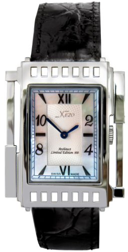 Xezo Unisex Architect Swiss Watch. Art-Deco Vintage Style. Natural Mother of Pearl. 5 ATM WR