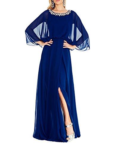 Festlichkleider Chiffon Abenkdleider Ballkleider La Brau mia Langes Blau Dunkel Partykleider Brautmutterkleider Royal Abschlussballkleider wfzHzqRx