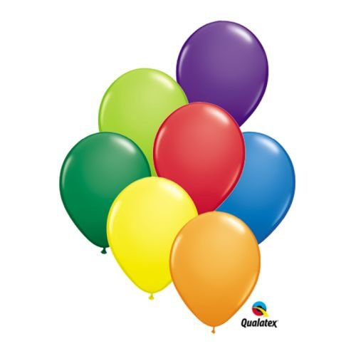 Qualatex Carnival Assortment Biodegradable Latex Balloons, 5-Inch Round (100-Units) (Latex Standard Balloons Assortment)