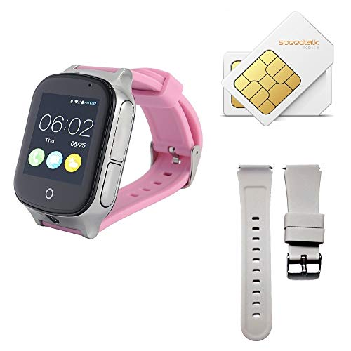 (Give SIM Card and Strap) 3G GPS Watch for Kids Elderly,WiFi Phone Call, KKBear Real-time Tracking, Geo-Fence Touch Screen Camera SOS Alarm Anti-Lost GPS Tracker Suitable for Dementia ()