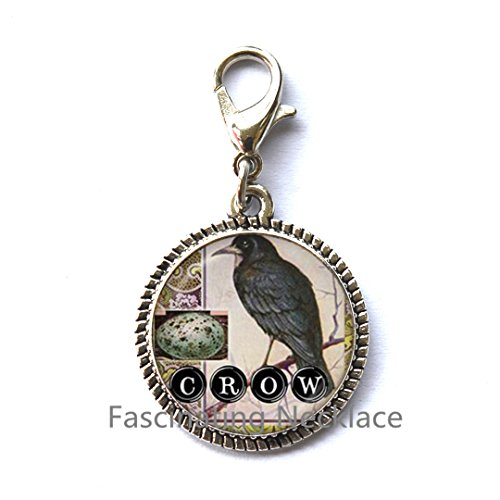 Price comparison product image Crow Zipper Pull Bird Charming Zipper Pull Black Raven Jewelry Glass Dome Charming Zipper Pull Animal Neckless Gifts For Lover Gothic Men JewelleryAQ1115