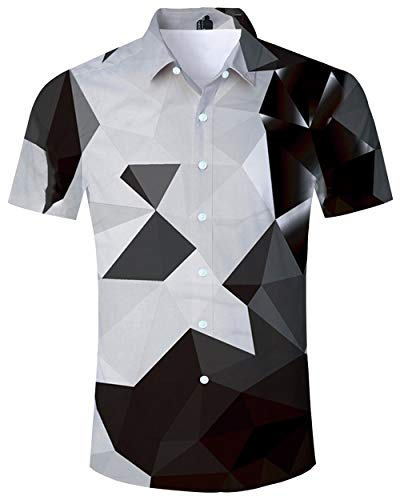 - ALISISTER Tropical Hawaiian Shirt Mens Vacation Aloha Shirts 3D Geometric Blouse Button Dress Down Collar Beacwear Black M