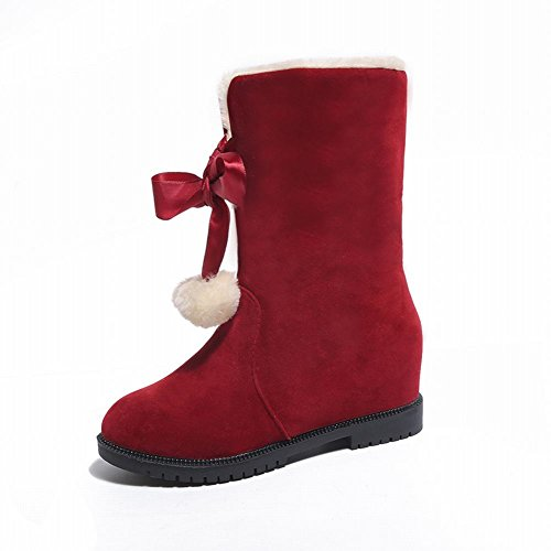 Charm Foot Womens Lace Up Pompon Fodera In Velluto Inverno Mid Boots Da Neve Rosso Vitello