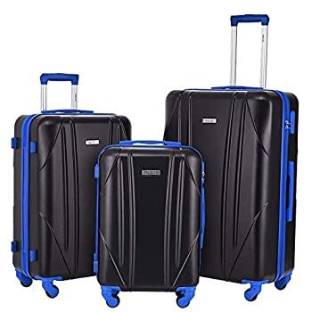 Image of Newtour Luggage Sets 3 Pieces Suitcase with Spinner Wheels Hardshell Lightweight luggage Travel 20in 24in 28in (Black & Blue) Luggage