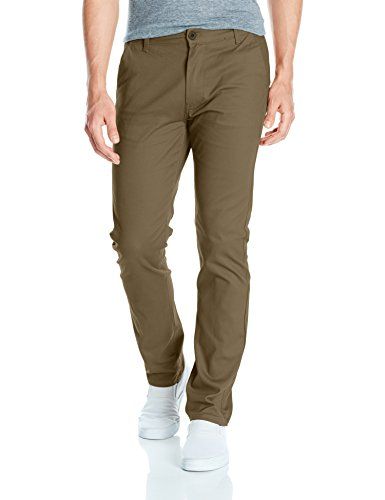 Southpole Men's Flex Stretch Basic Long Chino Pants, Olive (New), 34X32 (Olive Chino)