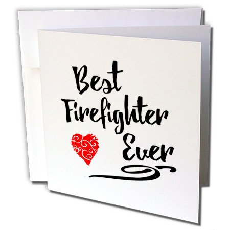 (3dRose Russ Billington Designs - Best Firefighter Ever Design with Red Scribble Heart - 6 Greeting Cards with envelopes (gc_241099_1))