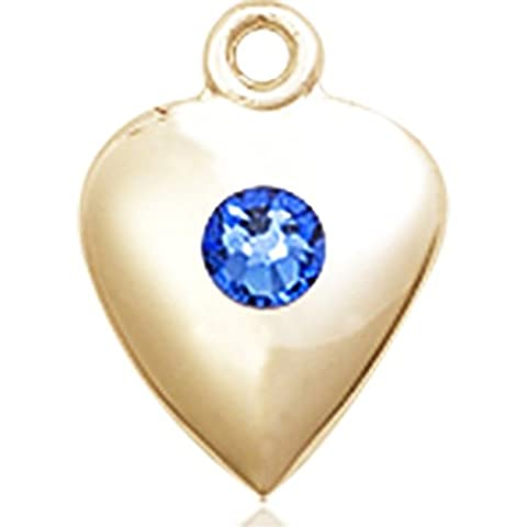14kt Yellow Gold Heart Medal with 3mm September Blue Swarovski Crystal 1 1/4 x 1 5/8 inches - Gold Heart Medal