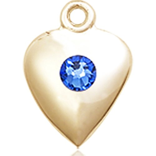 14kt Yellow Gold Heart Medal with 3mm September Blue Swarovski Crystal 1 1/4 x 1 5/8 inches by Bonyak Jewelry Saint Medal Collection