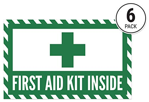 First Aid Kit Inside Sticker Signs (Pack of 6) High Gloss UV Coated OSHA ()