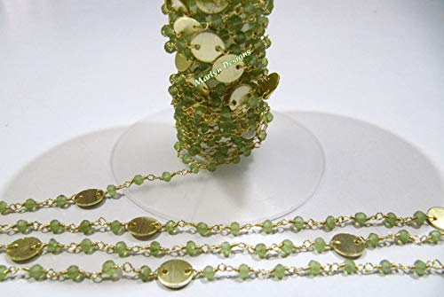 10 Feet Beautiful Natural Peridot Rosary Chain, 3-4mm Peridot Beaded Coin Chain, Rondelle Faceted Beads Coin Chain, Gemstone Rosary Chain by LadoNarayani