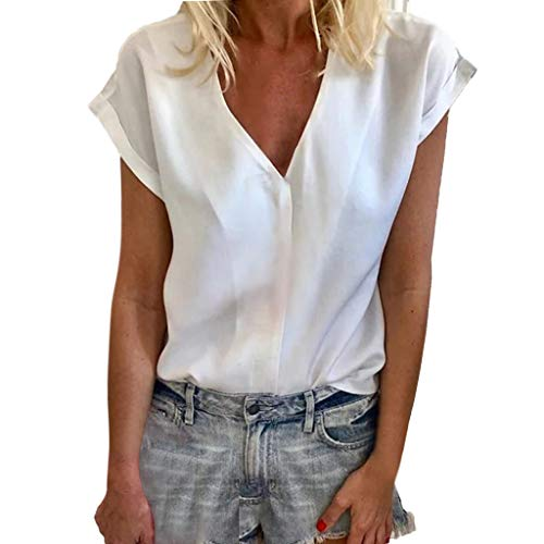 BingYELH Women's Summer Short Sleeve Loose Casual Tee T-Shirt V Neck Tunic Top Cute Tees Loose Fitted Henley Workout Shirts White