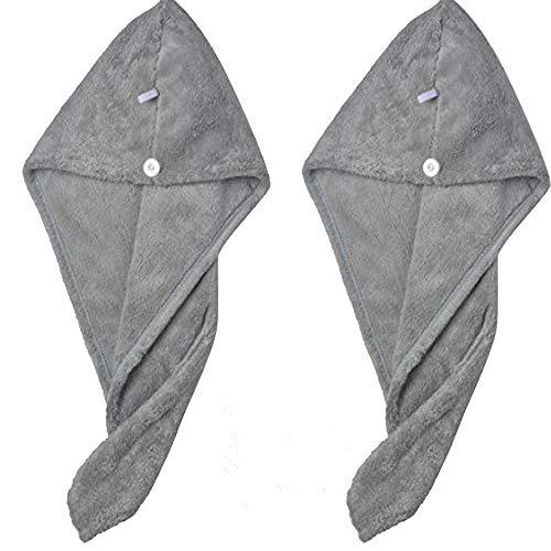 Sinland Hair Drying Towel Microfiber Fast Drying Hair Turban Twist Wrap Cap 9.8Inch X 25.6Inch Charcoal Grey 2 Pack