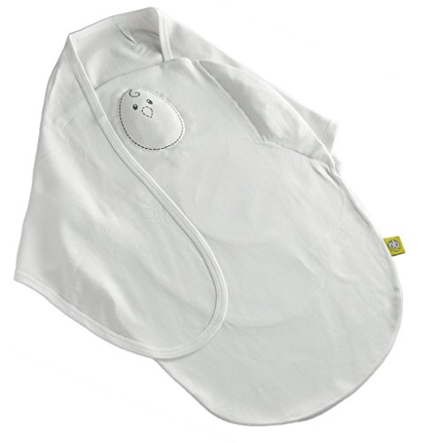 Nested Bean Zen Swaddle Classic - Adjustable Velcro Cotton Swaddle (0-6 m) (Pearl White)