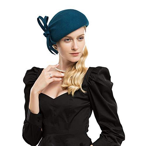 Xjya De Gorro Para Mini Copa Ajustable Mujer blue Blue Sombrero Lana PPaqrZwT