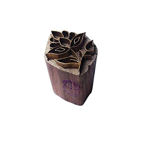 Elegant Wooden Block Brass Leaf Designs Clay Printing Stamp