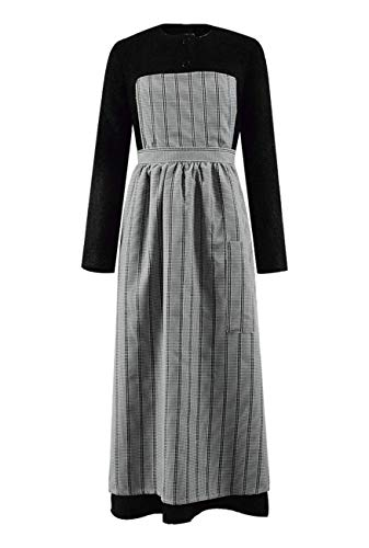 Classic Movie Sound of Music Maria Costume Women Black Dress with Gray Apron (Black, US Women-L) -