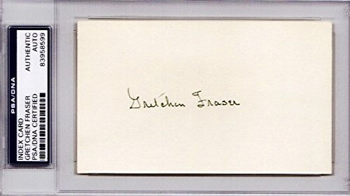 Gretchen Fraser Autographed Signed Olympic alpine ski racer 3x5 Inch Index Card - 1948 Gold Medalist - Deceased 1994 - PSA/DNA Authenticity (COA) - PSA Slabbed Holder from Sports Collectibles Online