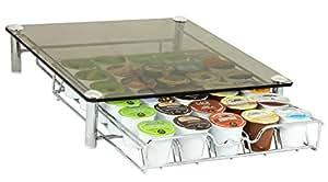DecoBros Crystal Glass Coffee Storage Drawer Holder for Keurig K-Cup Pods