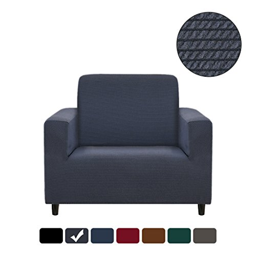 RUBEDER Stretch Chair Cover Armchair Sofa Slipcover 1-Piece Jacquard Polyester Spandex Fabric Elastic Furniture Protector (Knitted Stripe, Blue Grey) (Furniture 1)