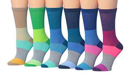 Tipi Toe Women's 6-Pairs Stripe Colorblock Colorful Fashion Crew Dress Socks, (sock size 9-11) Fits shoe size 5-9, WC43-B ()