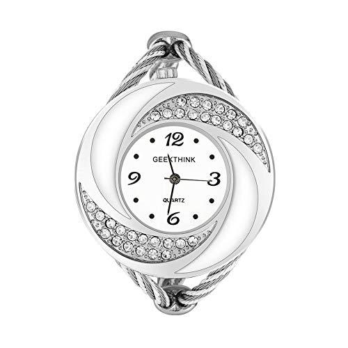 Watches for Women, Geekthink Rhinestone Quartz Analog Watch Open Bangle Alloy Whirlwind Case Wristwatch(Silver white)