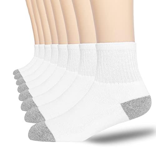 Men's Athletic Ankle Socks 6/8 Pairs Cotton Cushioned Quarter Socks for Men Moisture Wicking Socks Size 10-13 (6-pairs White, Socks Size 7-9/9-12