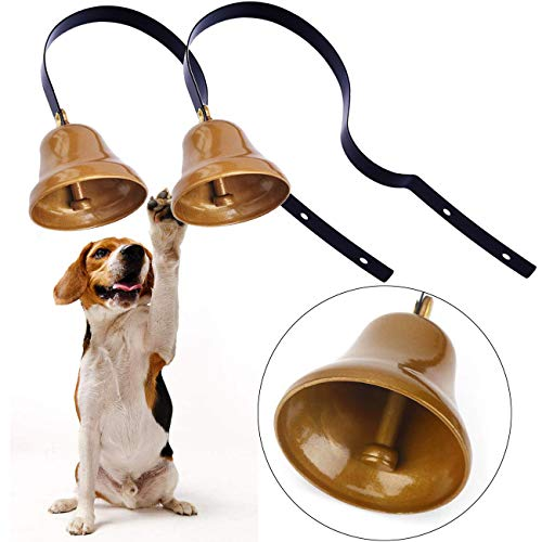 Malier Tinkle Dog Bells, Set of 2 Dog Potty Training Bells, Dog Puppy Pet Door Bells, Hanging Durable Brass Doorbell for Potty Training Housetraining Houserbreaking (Black)