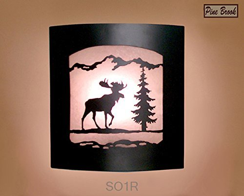 Wall Sconce Rustic Moose Light, Cabin Decor Lamp, Pine Tree, Right ()