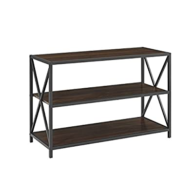 WE Furniture AZS40XMWDW Media Bookshelf Dark Walnut - Multiple shelves for ample storage space Powder-coated metal High-grade MDF - living-room-furniture, living-room, bookcases-bookshelves - 41IlU1RD0yL. SS400  -