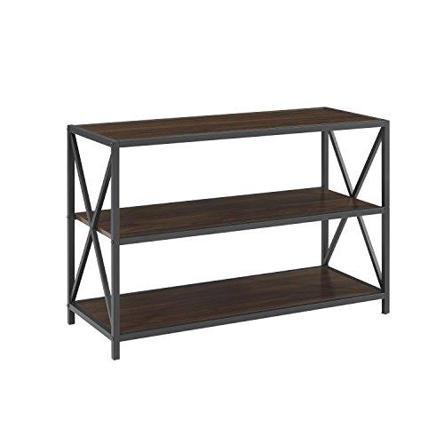 WE Furniture AZS40XMWDW Media Bookshelf, Dark Walnut (Stand Bookshelf)
