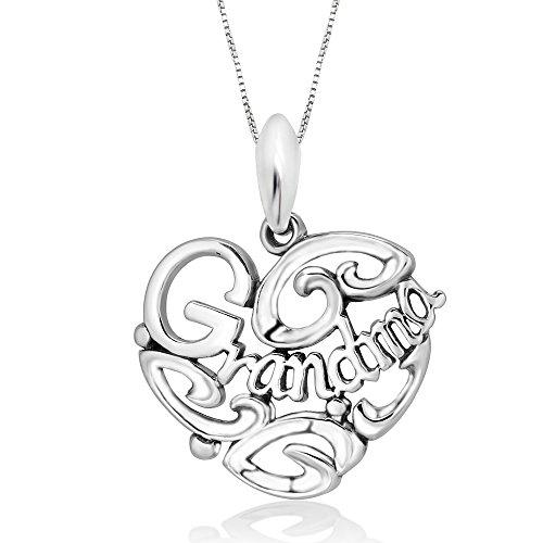 - 925 Sterling Silver I Love You Grandma Heart Pendant Necklace, 18