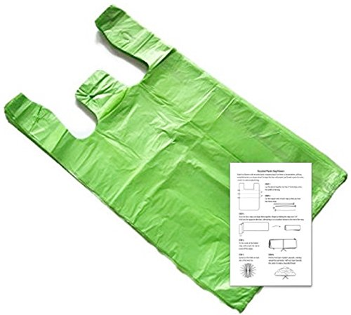 Lime 8x5x15 Small T-shirt Bags (100 Pack) with Crafting Insert - Reusable Retail Shopping Bags