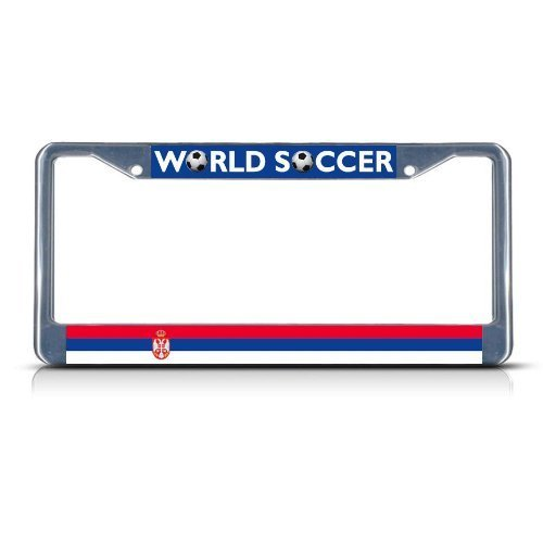 Guang trading SERBIA Soccer Team Chrome Metal Heavy Duty License Plate Frame Tag Border by Guang trading