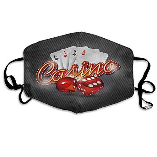 Poker Tournament Dust Mouth Mask Dices and Cards for Men and Women W4
