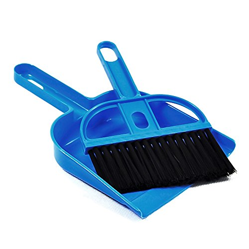 MYSBIKER Mini Dustpan and Broom Set,Cage Cleaner for Reptile, Hedgehog, Hamsters,Degus,Chinchilla,Guinea Pig,Rabbits and Other Small Animals,Cleaning Tool Set for Animal Waste (1, blue)